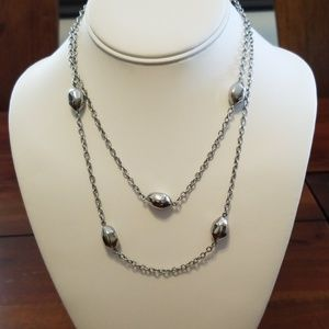 """18"""" silver bean beads necklace (stainless steel)"""